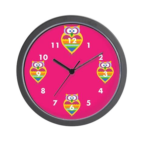 owl wall clock colorful owl wall clock by glamourgirls2