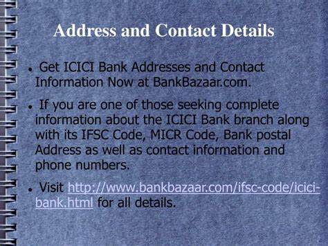 icici bank contact us ppt icici bank get ifsc and micr code powerpoint