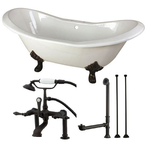 cast iron bathtub faucets aqua eden double slipper 6 ft cast iron clawfoot bathtub