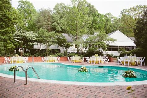 Real Weddings Courtney Michael S Backyard Poolside Wedding Backyard Pool Wedding Ideas
