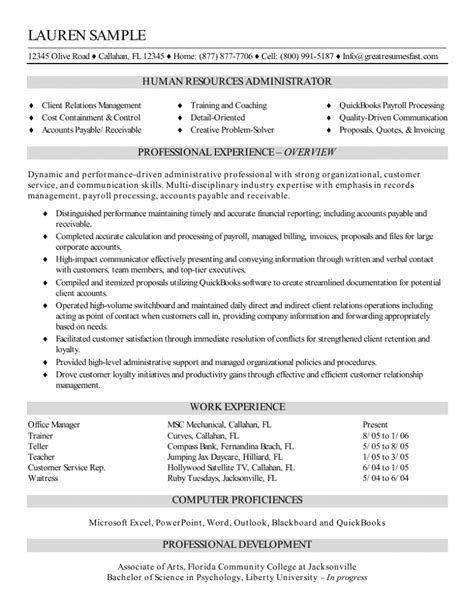 Resume Profile Sles For Human Resources Resume Sles Administrative Assistant Experience Resumes