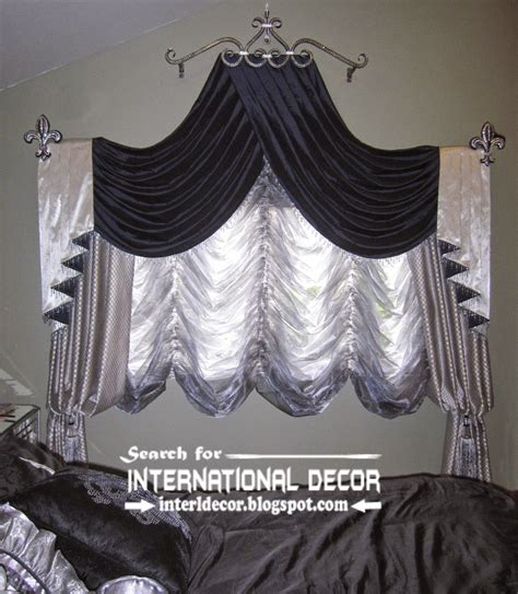Swag Curtains For Bedroom | silver and black swag curtains french bedroom curtains