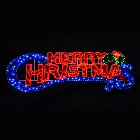 led rope flashing blue red light merry christmas sign