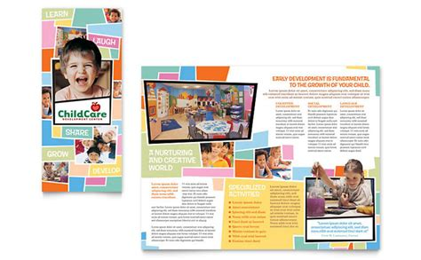 free child care flyer templates preschool day care brochure template design