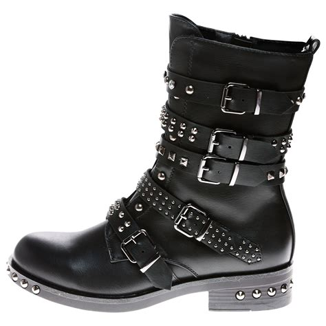 womens biker boots with heels womens ankle boots studded buckle biker
