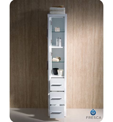 fresca fst6260wh torino tall bathroom linen side cabinet