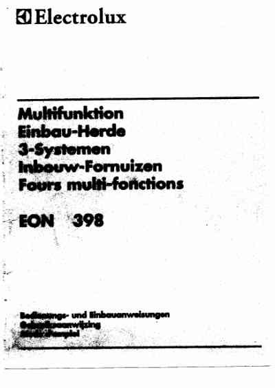Electrolux Herd Bedienungsanleitung by Electrolux Eon398wstandherd Herde Deutsche