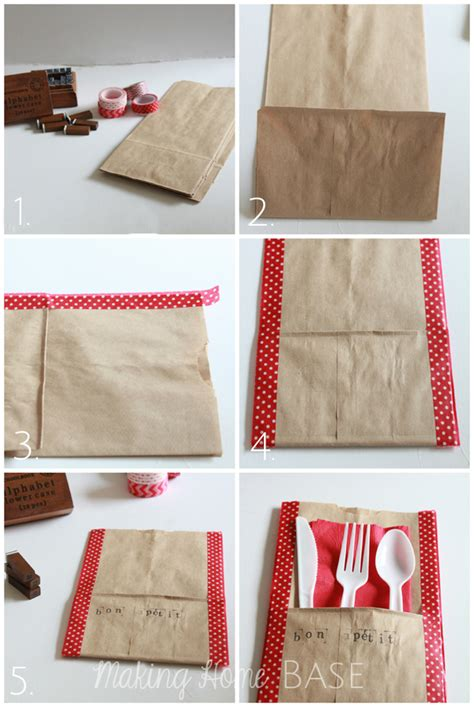 How Do You Make Paper Bags - diy utensil holders made using washi and paper bags