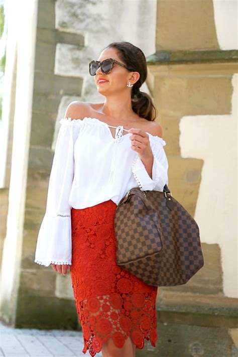 Fashion Spedy shoulder lace skirt and my speedy bag fashionhippieloves