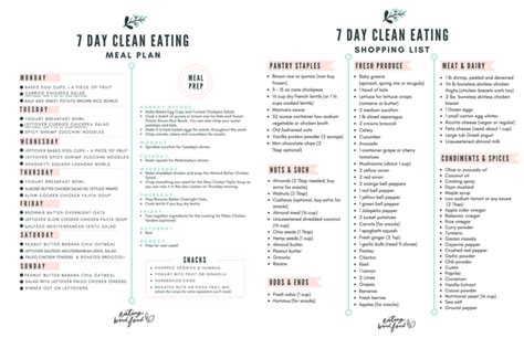 printable healthy eating plan 7 day healthy meal plan shopping list eating bird food
