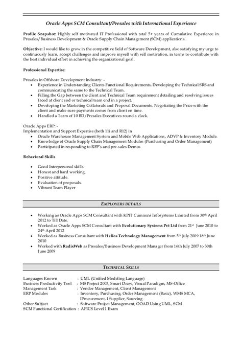 Sle Resume Functional Consultant Oracle Erp Project Manager Resume Sle Functional Skills Resume Sle For Resume For