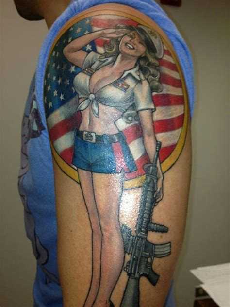 tattoo army girl us army pin up girl tattoo on arm 187 tattoo ideas