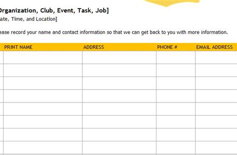 event sign up sheet template search results for event sign up sheet template free