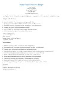 resume sles intake screener resume sle