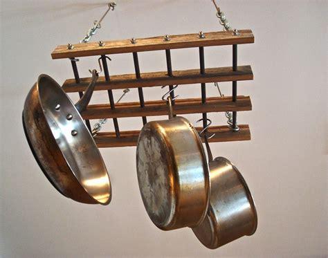 Wooden Pot And Pan Rack Pot Rack Reclaimed Wood Pot Rack Free Shipping