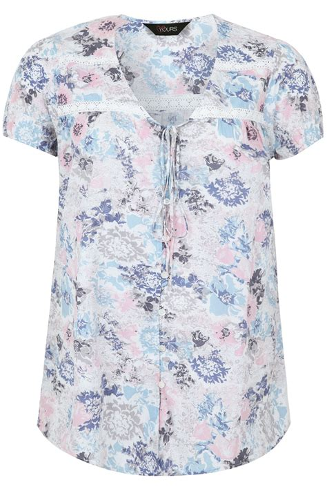 Pastel Blouse pastel button front sleeved floral blouse plus size 16 to 36