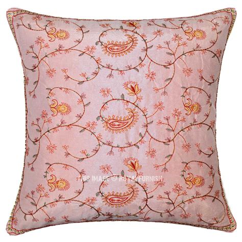 pink indian floral embroidered decorative silk throw