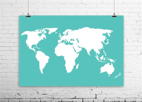 Large World Map Wall Sticker world map poster sizes from 4x6 to 36x48 large by bysamantha