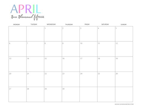 2015 April Calendar Printable Free 2015 Printable Calendar By Shiningmom And