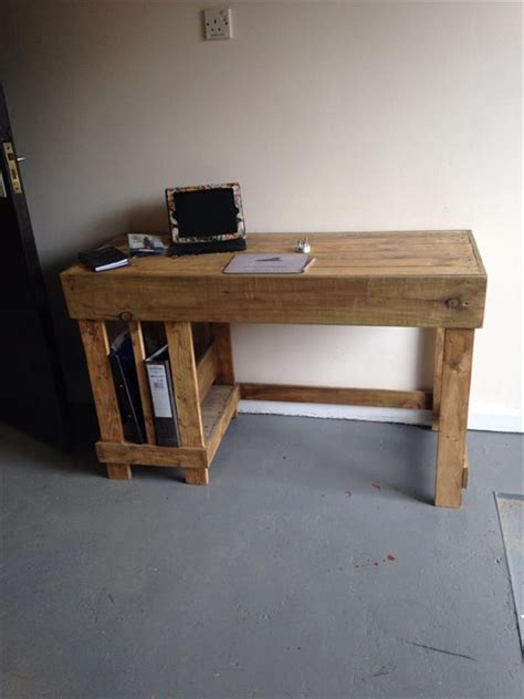 Wooden Computer Desk Plans Diy Wood Pallet Office Computer Desk Pallet Furniture Plans