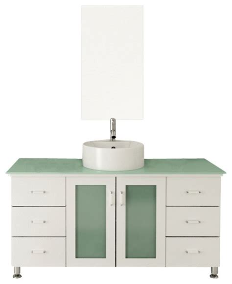 Modern Bathroom Vanities With Vessel Sinks 47 25 Quot Grand Lune White Single Vessel Sink Modern Bathroom
