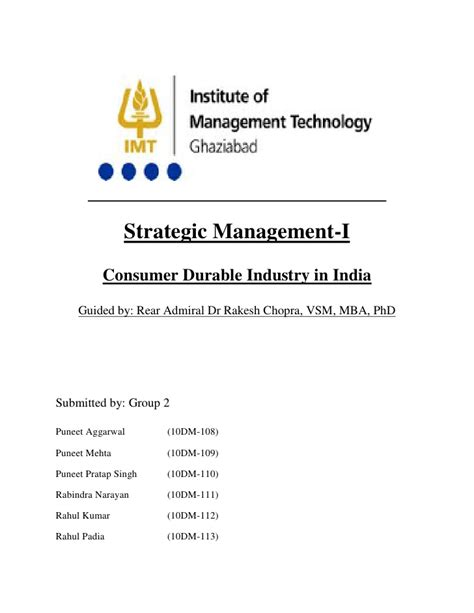 Mba In Strategic Management In India by Blue Diamond Consumer Durables