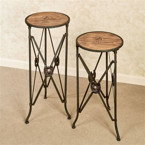 accent table set western star round accent table set
