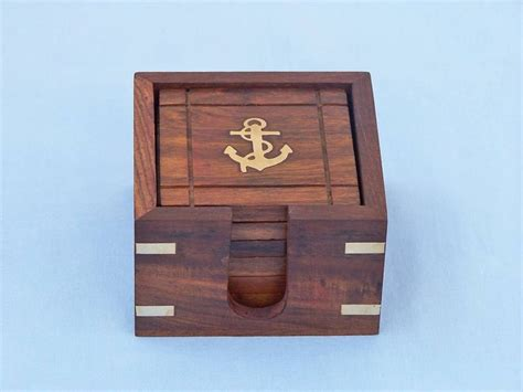 Wholesale Nautical Decor by Buy Wooden Anchor Coasters With Rosewood Holder 4 Inch
