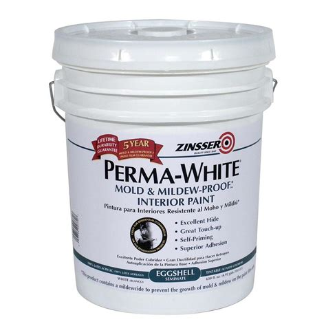 zinsser paint colors zinsser 5 gal perma white mold and mildew proof eggshell