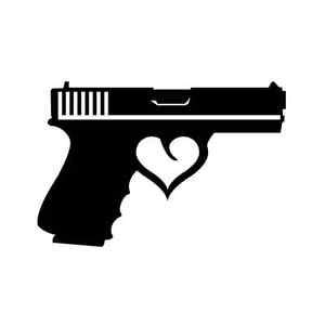 gun heart trigger vinyl sticker decal arms gun handgun