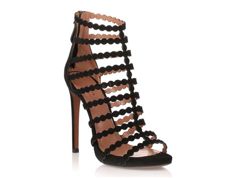 high heel cage sandals alaia high heel cage sandals in black suede leather