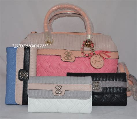 guess merci quilted large satchel bag purse handbag sac wallet set 4g charm new ebay