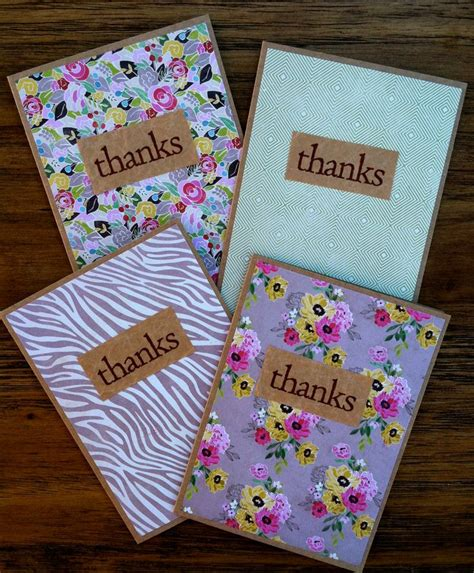 handmade thank you cards use brown paper and photo card