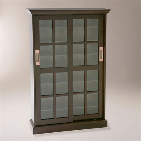 Media Storage Cabinet With Glass Doors Southern Enterprises Sliding Glass Door Windowpane Media Cabinet Espresso Find It At Shopwiki