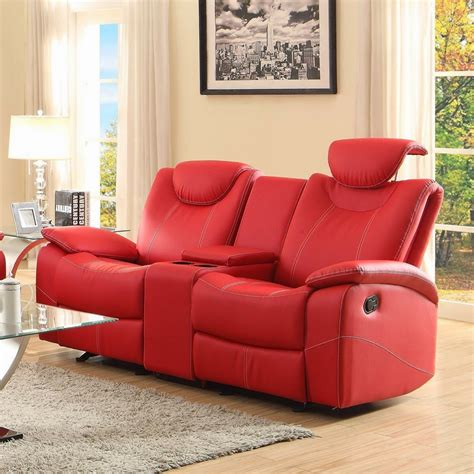 red leather loveseats red leather reclining sofa smalltowndjs com