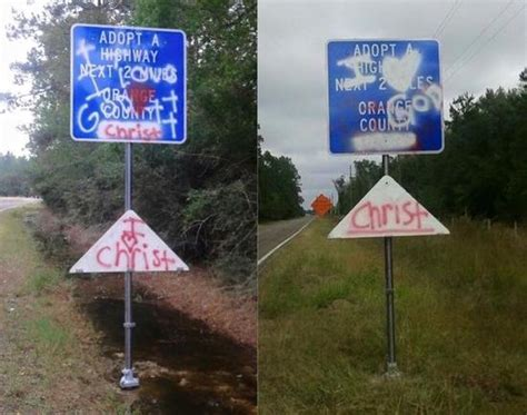 adopt a tx atheist adopt a highway signs in riddled with bullets friendly atheist