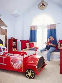 Firetruck Bedroom | bright kids bedroom design with red fire truck bed dweef