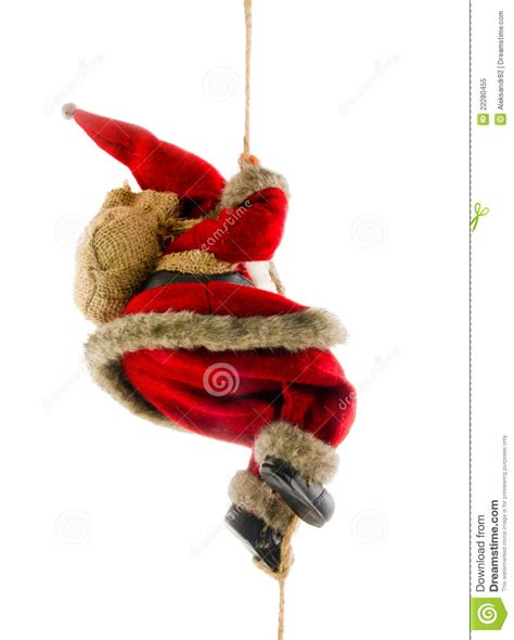 santa claus climbing rope stock image image of father