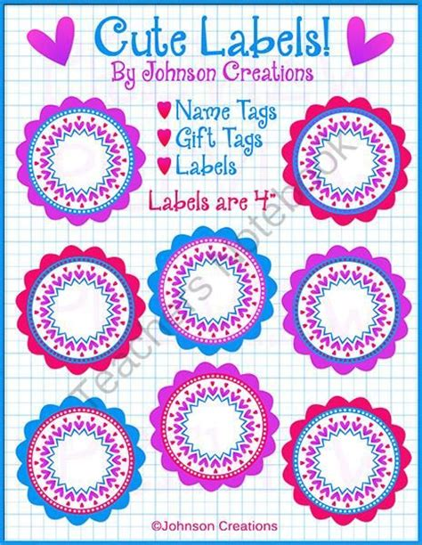 printable name tags teachers cute labels from johnson creations on teachersnotebook