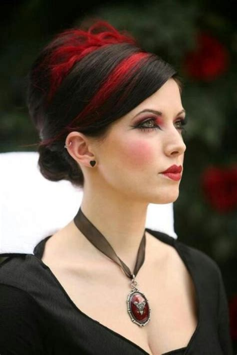 elegant goth hairstyles gothic wedding red and black hair 2031036 weddbook