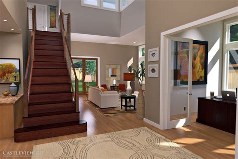 design a room for free living and dining room architectural renderings from