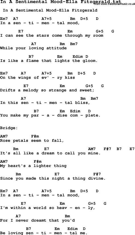 lyrics ella fitzgerald jazz song in a sentimental mood ella fitzgerald with