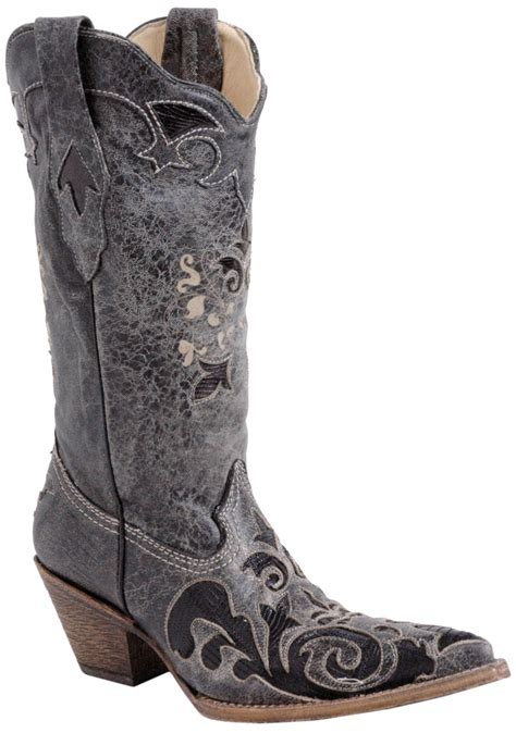 corral black vintage lizard overlay boot outback