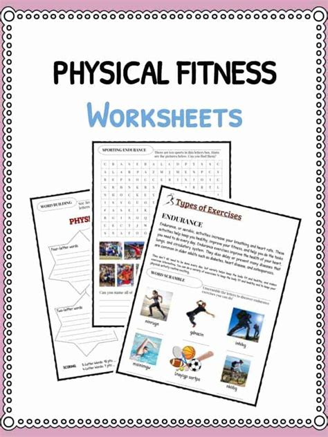 Physical Health Worksheets physical fitness facts worksheets information for