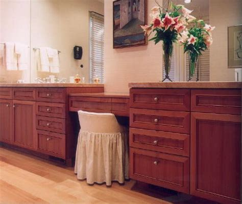 extra long bathroom vanity with builtin makeup station