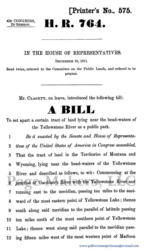 Yellowstone National Park Congressional History - Bill H