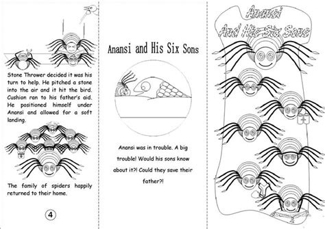 printable version of anansi wisdom story anansi and his six sons black white worksheet free
