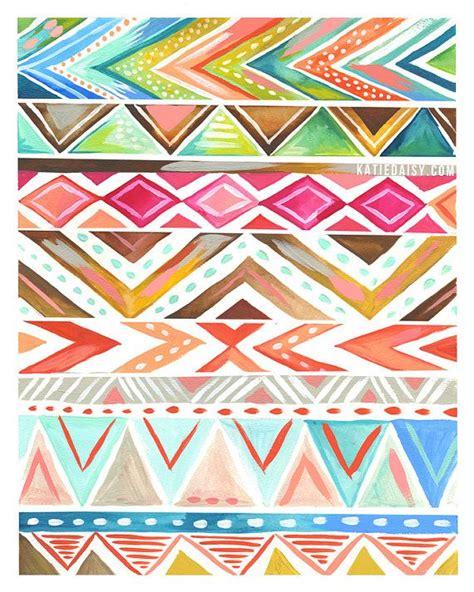 aztec pattern we heart it azalea stripe art print geometric aztec artwork