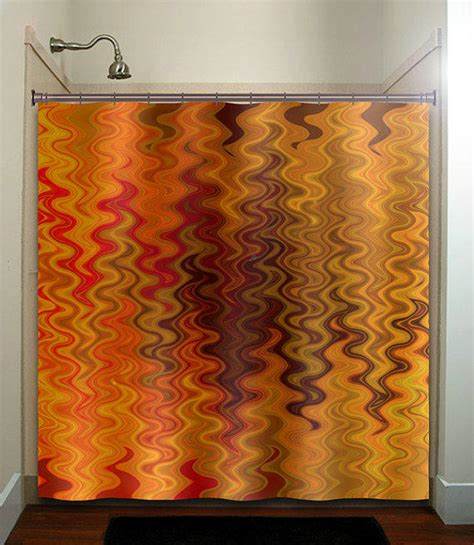 orange and brown bathroom sets fire tapestry flame orange brown chevron from