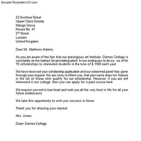 scholarship rejection letter sample templates sample